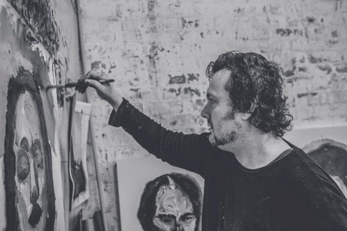Steve Salo painting, photograph by Joshua Maxwell de Hoog